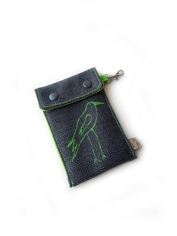 cellphone case green bird screenprint black sleeve