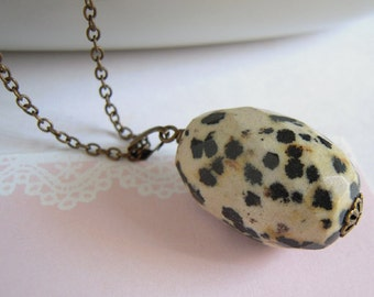 Dalmation Jasper Necklace, Chunky Stone Pendant, Antiqued Brass Chain