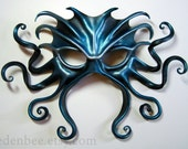 Large Cthulhu leather mask, hand-painted in black, turquoise, and silver, Halloween