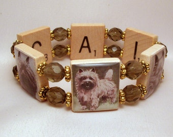 CAIRN Terrier Scrabble Bracelet / Gift Ideas / Handmade Jewelry / Dog Lover