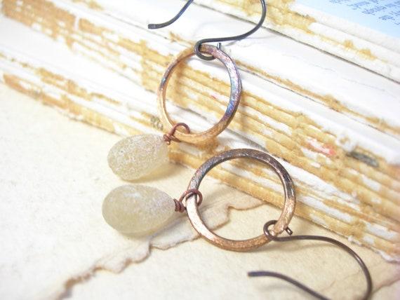 Citrus earrings stone lampwork rustic hay stone fashion