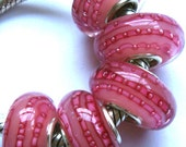 Pink silver Charm glass bead fits large hole Trollbead Biagi European style bracelets necklaces