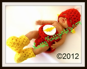 Flash comic Baby handmade crochet Set Hat diaper cover and boots 0 to 24 months years old