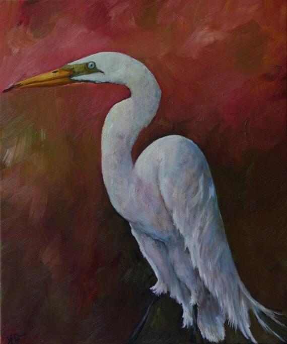 ORIGINAL PAINTING Great Egret White Heron Bird Wildlife Pink