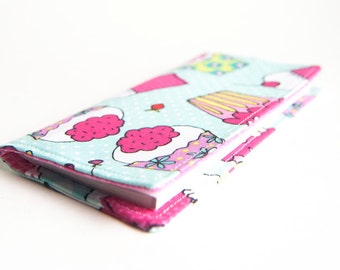 FREE SHIPPING, Fabric Checkbook cover, handmade wallet, Coupon Holder, Blue Pink Cupcakes