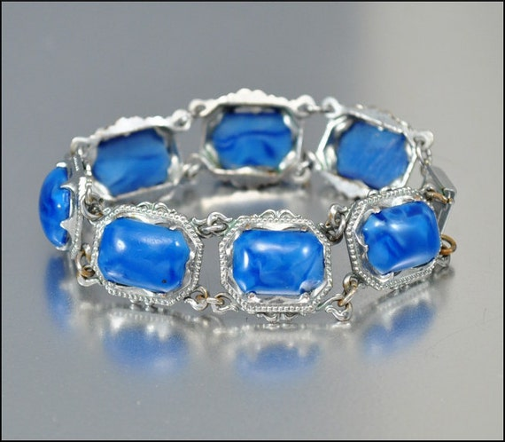 Art Deco Bracelet Silver Blue Glass Ornate 1930s Wedding Jewelry Vintage Jewelry