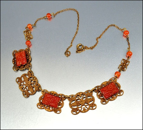 RESERVED Art Deco Necklace Czech Glass Gold Filigree Molded Flower Carnelian Vintage Jewelry 1930s