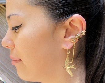 Chain Ear Cuff Bajoran Ear Cuff Bronze Quiver and Arrows And Mocking Jay Ear Cuff Bajoran Bird Earring Arrow Earring Mocking Jay Jewelry
