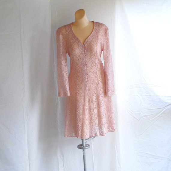 Vintage Dress Pink Blush Floral Lace Mini Dress Flirty Dress Sheer Lace Sexy Rose Pink