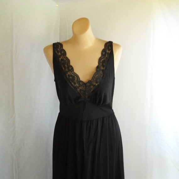 Vintage Black Nightgown Charmode NIghtgown Bombshell Lingerie Sexy Nightie Lace Plunge Neckline
