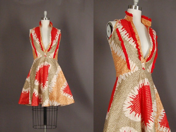 Vintage 60s Dress full skirt gold metallic cotton mini dress