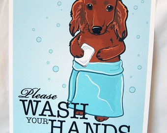 Wash Your Hands Red Dachshund - 8x10 Eco-friendly Print