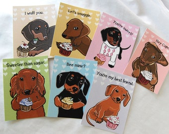 Doxie Cupcake Valentines - Mini Eco-friendly Set of 7