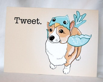 Corgi Birdie Greeting Card