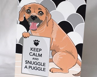 Keep Calm Puggle Greeting Card