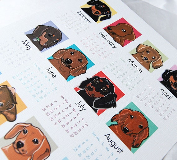2013 Dachshund Calendar Print - Eco-Friendly 8x10 Size