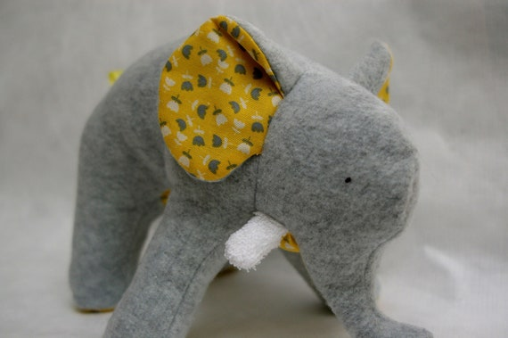 Fanny Grey - Plush Gray Fleece Elephant with yellow and grey retro flowers on her tummy and soft chenille tusks - ready to ship
