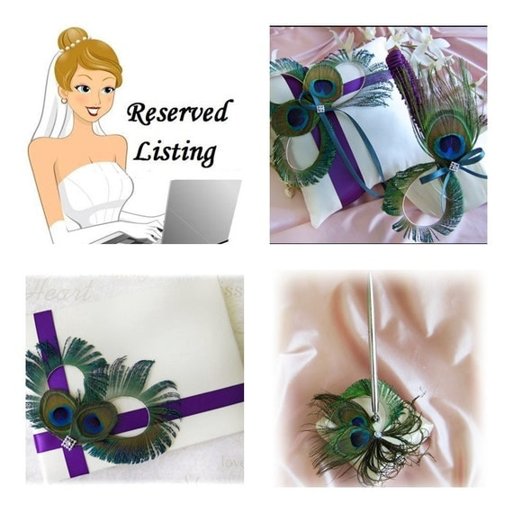 Peacock Wedding Peacock Feathers ring bearer pillow and flower girl basket, lapis and teal wedding colors