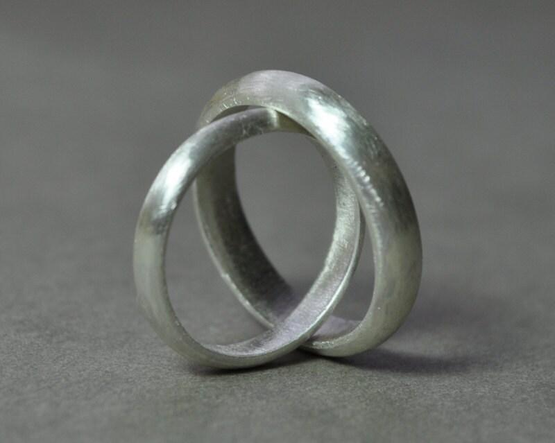 Wedding Rings 4mm And 3mm Set Wedding Band Set Wedding