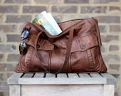 Eco Tote Weathered Leather Bomber Daybag in Rustic Brown Distressed Lightweight Leather