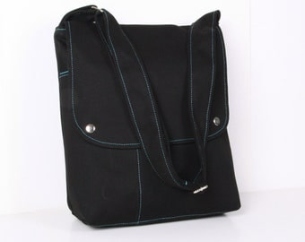 "Men Messenger Bag, Shoulder bag,15"" laptop , Black ,school bag ,adjustable strap...HILLSIDE"