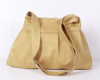 Messenger Bag, handbag  ,Shoulder bag ,Everyday bag ,Mustard Canvas with cream lining...