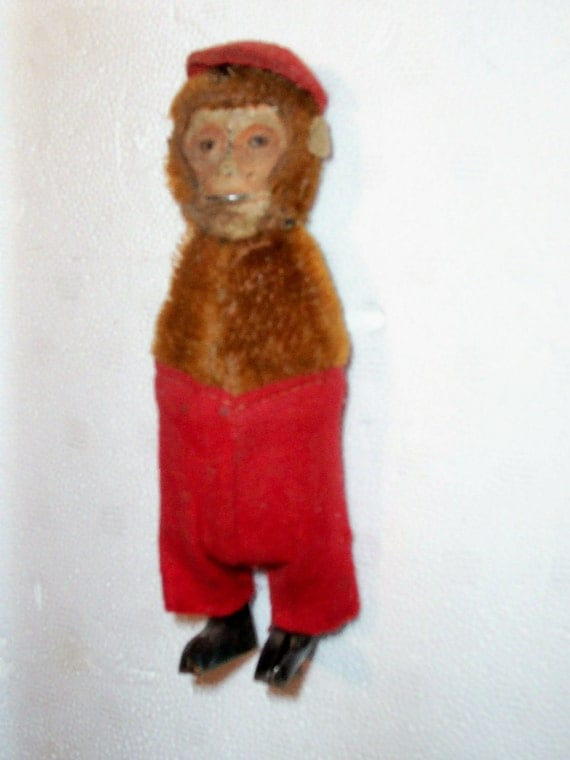 Antique Monkey Chimp Toy Windup Tin Mohair Compo As Is