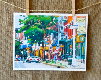 Park Slope Brooklyn Fine Art Print  8x10, Ozzies, Park Slope, Painting by Gwen Meyerson