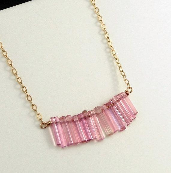 Pink Tourmaline Gold Necklace Minimalist Simple Petite Necklace Office Fashion