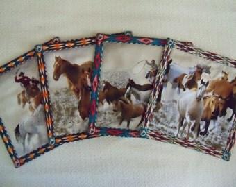 Equestrian Mug Rugs Wild and Free Set of Horse Coasters Mug Rugs Southwest Design