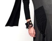 black bangle, felted bracelet , rubber jewellery,