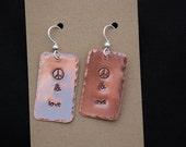 Peace & Love Copper Earrings