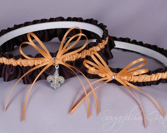 New Orleans Saints Wedding Garter Set - In Stock and Ready to Ship