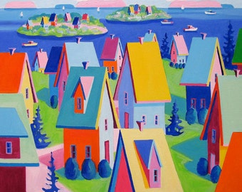 Maine Landscape - Cottages - Paper - Canvas - Wood Block