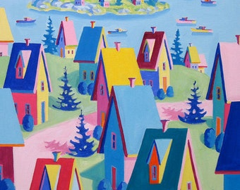 Maine Landscape - Cottages - Paper - Canvas - Wood Block - Giclee Print