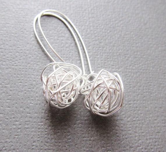 Tangled Earrings Handwired sterling ball - Modern Simple Design- short tangled ball drop