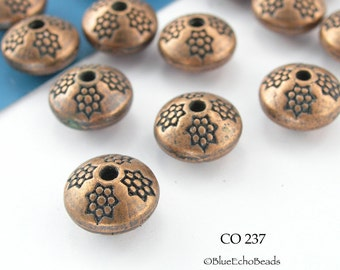 10mm Copper Plated Saucer Spacer Beads Antiqued Copper 10mm (CO 237) 8 pcs BlueEchoBeads