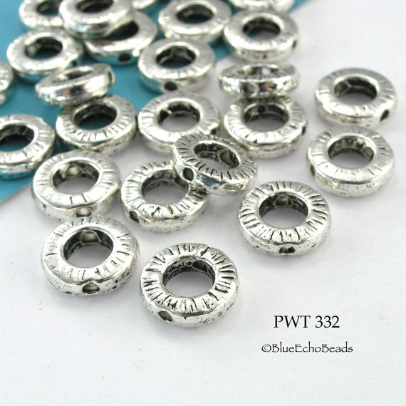 Decorative Pewter Bead Frame Silver Tone 10mm (PWT 332) 14 pcs BlueEchoBeads