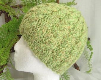 Apple Green Handspun Cable Beanie. Handspun Yarn. Merino Wool. Pale Yellow. Green. Beanies for Women. Gifts for Women. Girlfriend Beanie.