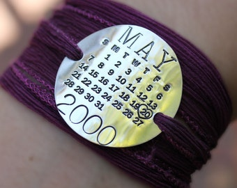 Silk Wrap Personalized Calendar Bracelet - Mark Your Calendar Wrap Bracelet - personalized sterling silver bracelet