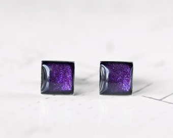Galaxy Stud Earrings Purple Square Resin Studs - Sparkling Deep Purple Glitter Post Earrings