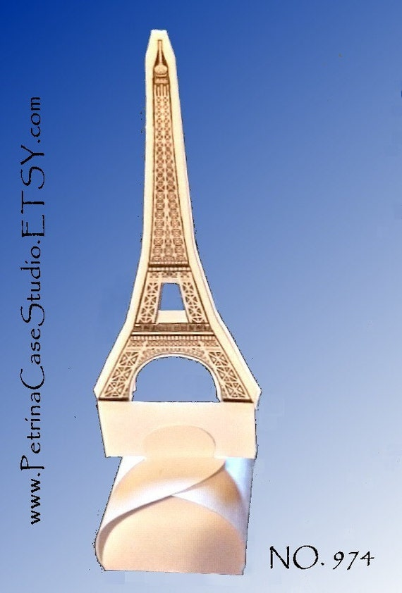 "Paris Eiffel Tower Printable Favor box -Pattern SMALL 3"" square base x 6"" H  -Fits Hostess Cupcake Item 974-P -Made in the USA"