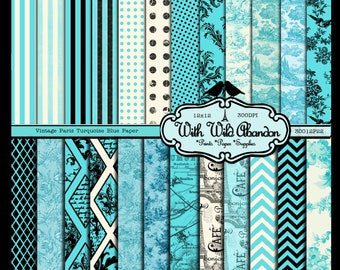 Turquoise Blue Vintage Paris Digital Scrapbook Paper 26 Sheets  - Toile, Damask, Argyle, Floral and Birds 12x12 Instant Download