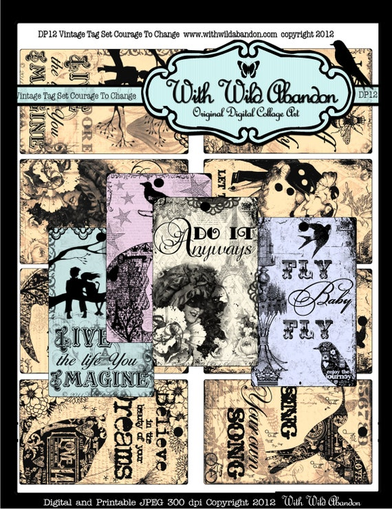 Courage to Change Vintage Tag Set Graphic Sheet and Printable Digital Stamps and Image Transfers