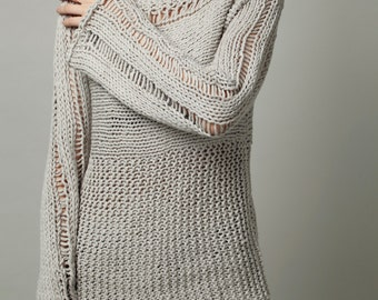 Hand Knit Woman Sweater - Eco Cotton Oversized sweater in Light Grey