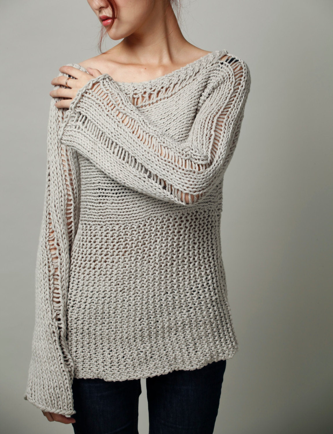 Knitting Sweaters For Women : Hand knit woman sweater eco cotton oversized in
