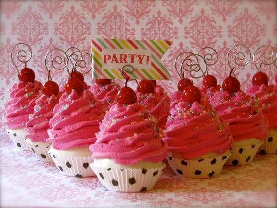 Fake Cupcakes Mini Hot Pink Cupcake Ornaments Polka Dot Cupcake Liners Set of 14 Can Be Used as Place Card Holders