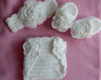 Baby Girl Hat, Booties, Diaper Cover, photo prop,baptism,christening  10001 MADE TO ORDER