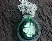 Clearance...Murano Glass Necklace Green Swirls