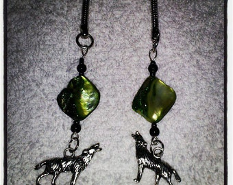 Wolf Key Chains with Green Beads
